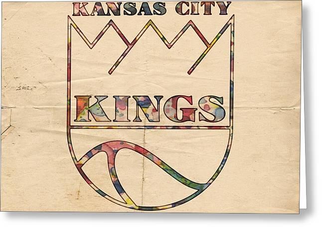 Kansas City Greeting Cards - Kansas City Kings Retro Poster Greeting Card by Florian Rodarte
