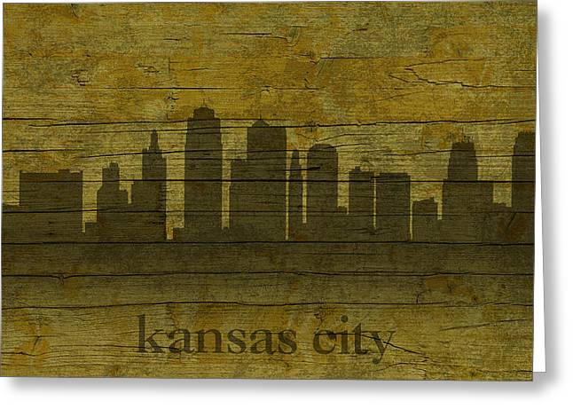 Kansas City Missouri City Skyline Silhouette Distressed On Worn Peeling Wood Greeting Card by Design Turnpike