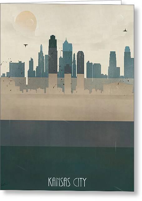 Kansas City Paintings Greeting Cards - Kansas City Missouri Skyline Greeting Card by Bri Buckley