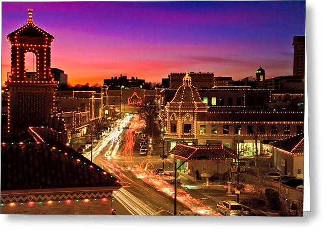 Recently Sold -  - City Lights Greeting Cards - Kansas City Plaza Christmas Lights Skyline Greeting Card by Tommy Brison
