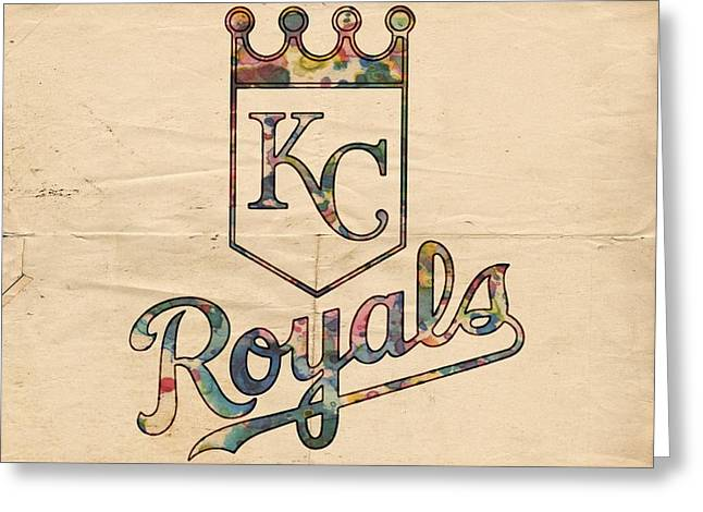 Bat Digital Greeting Cards - Kansas City Royals Poster Vintage Greeting Card by Florian Rodarte