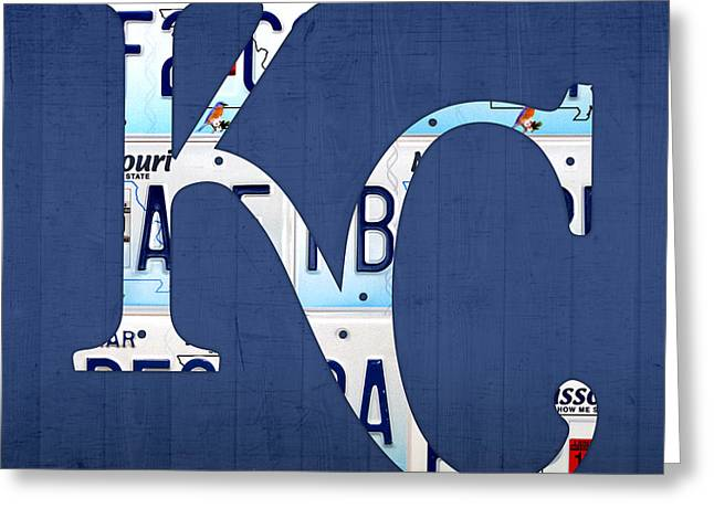 Royal Art Greeting Cards - Kansas City Royals Recycled License Plate Art Baseball Logo Greeting Card by Design Turnpike