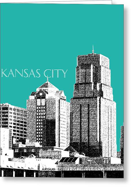Kansas City Skyline Greeting Cards - Kansas City Skyline 1 - Teal Greeting Card by DB Artist
