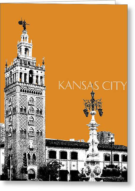 Kansas City Missouri Greeting Cards - Kansas City Skyline 2 - Dark Orange Greeting Card by DB Artist