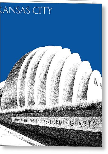 Kansas City Missouri Greeting Cards - Kansas City Skyline 3 Kauffman Center - Royal Blue Greeting Card by DB Artist