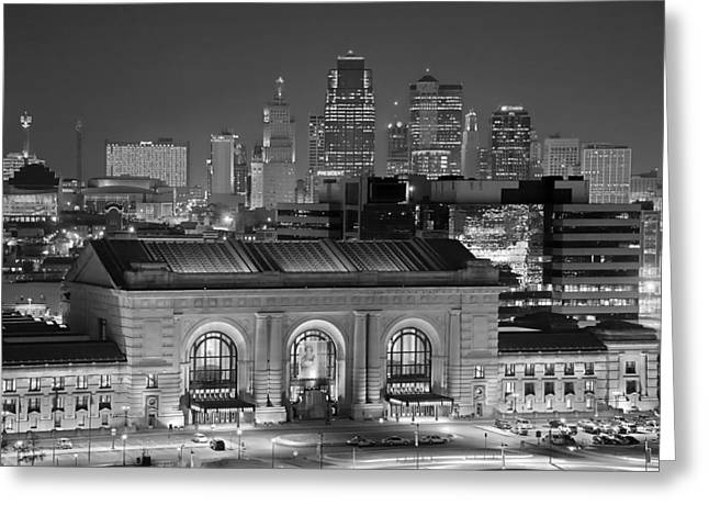 Kansas City Skyline Greeting Cards - Kansas City Skyline at Night KC Downtown Black and White BW Panorama Greeting Card by Jon Holiday