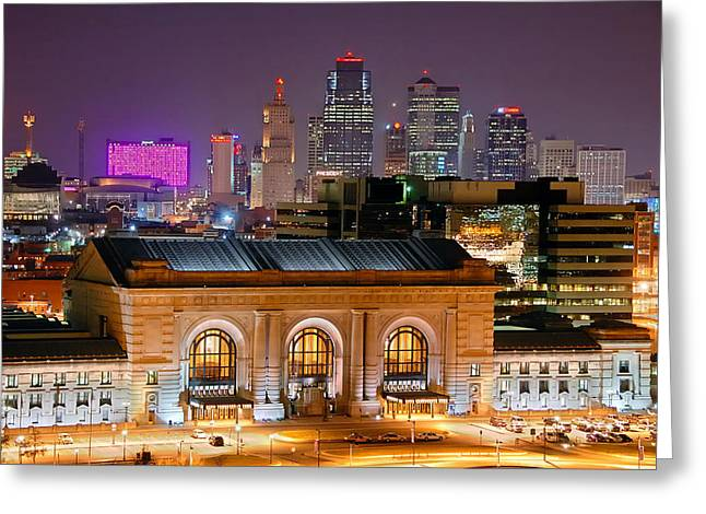 Kc Greeting Cards - Kansas City Skyline at Night KC Downtown Color Panorama Greeting Card by Jon Holiday