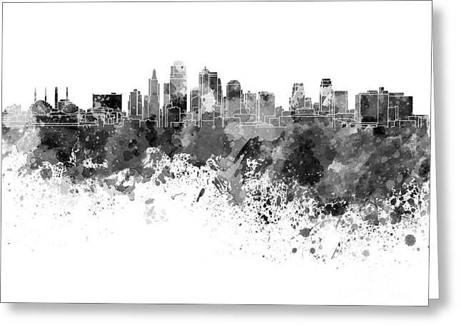 Kansas City Paintings Greeting Cards - Kansas City skyline in black watercolor on white background Greeting Card by Pablo Romero