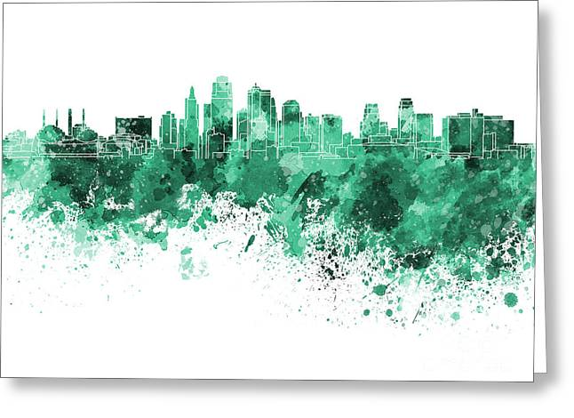 Kansas City Paintings Greeting Cards - Kansas City skyline in green watercolor on white background Greeting Card by Pablo Romero