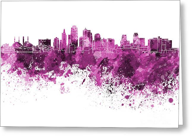 Kansas City Paintings Greeting Cards - Kansas City skyline in pink watercolor on white background Greeting Card by Pablo Romero