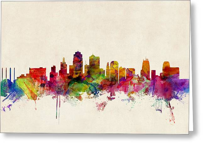 States Greeting Cards - Kansas City Skyline Greeting Card by Michael Tompsett