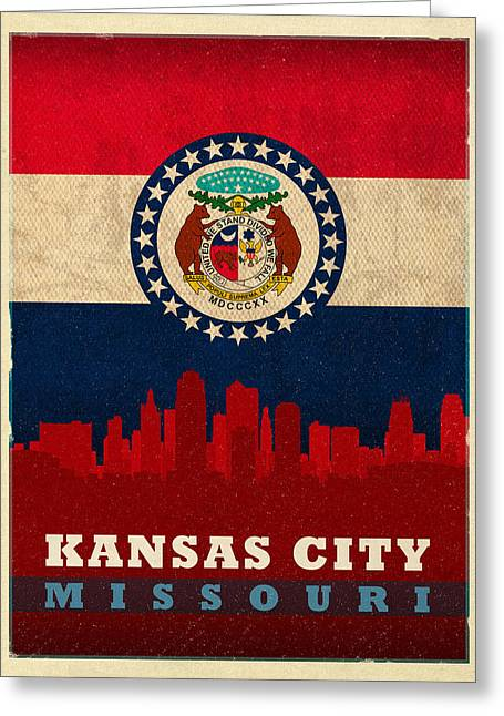 Kansas City Greeting Cards - Kansas City Skyline State Flag Of Missouri Art Poster Series 008 Greeting Card by Design Turnpike