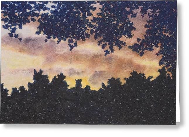 Kansas City Pastels Greeting Cards - Sunset Though the Trees Greeting Card by Michele Fritz