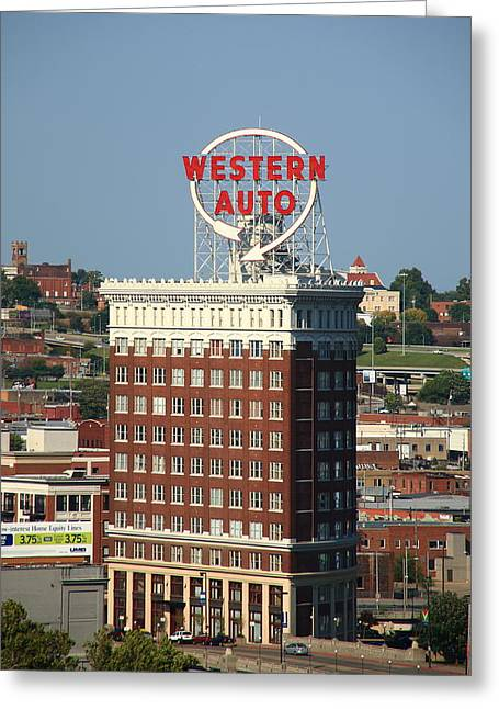 Westen Greeting Cards - Kansas City - Western Auto Building 2 Greeting Card by Frank Romeo