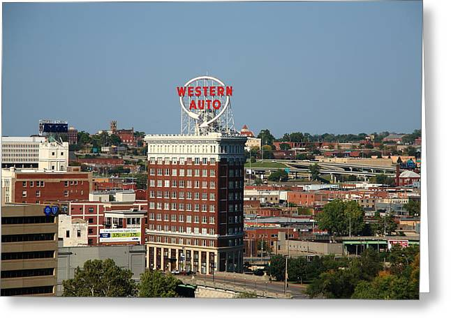 Westen Greeting Cards - Kansas City - Western Auto Building Greeting Card by Frank Romeo