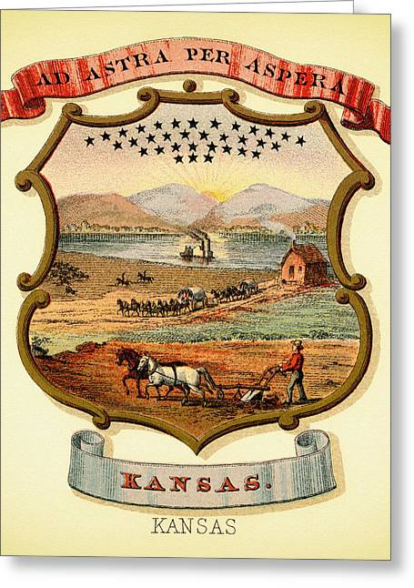 Illustrative Greeting Cards - Kansas Coat of Arms - 1876 Greeting Card by Mountain Dreams