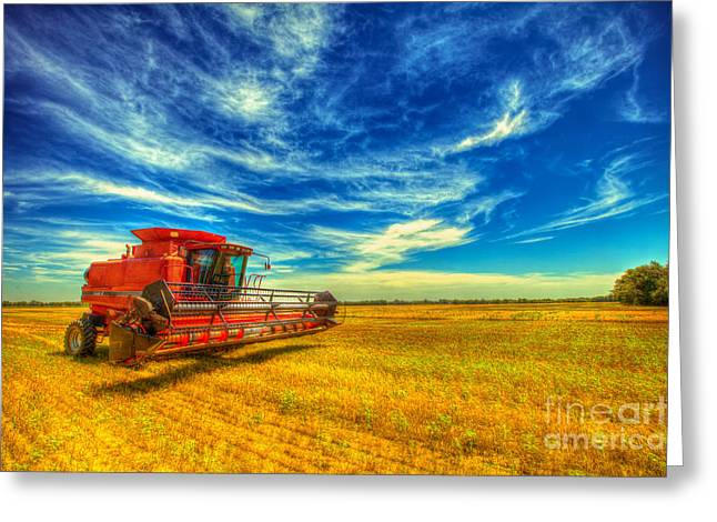 Tractors Greeting Cards - Kansas Combine Greeting Card by  Caleb McGinn