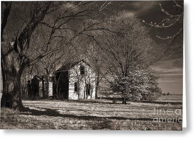 Old House Photographs Greeting Cards - Kansas Farm House I Greeting Card by Thomas Bomstad
