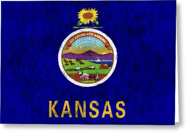 Flag Of Usa Greeting Cards - Kansas Flag Greeting Card by World Art Prints And Designs
