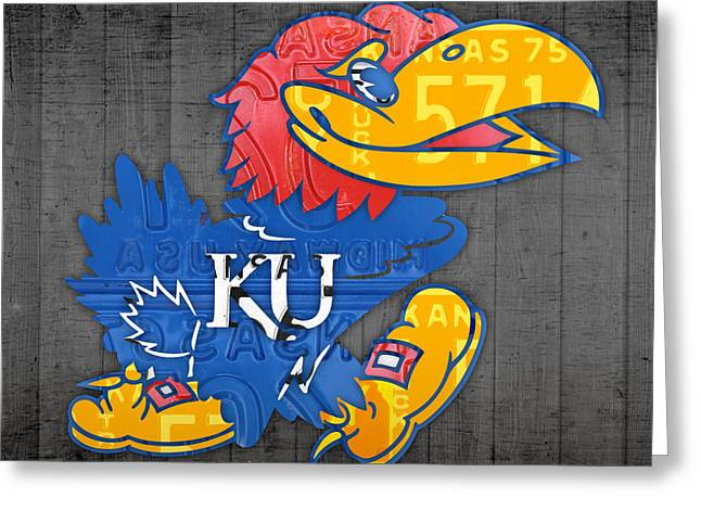 Jayhawk Greeting Cards - Kansas Jayhawks College Sports Team Retro Vintage Recycled License Plate Art Greeting Card by Design Turnpike