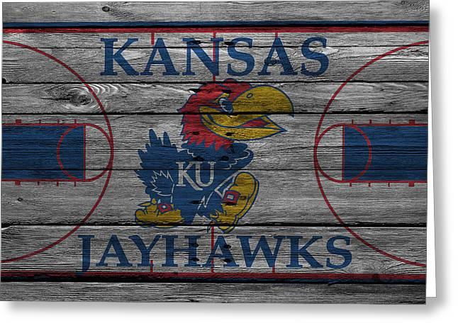 Snow Greeting Cards Greeting Cards - Kansas Jayhawks Greeting Card by Joe Hamilton