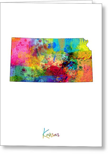 Cartography Digital Greeting Cards - Kansas Map Greeting Card by Michael Tompsett