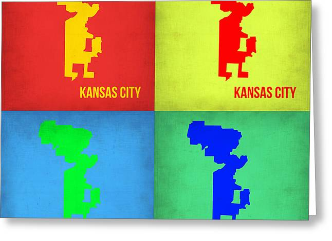 Kansas City Digital Art Greeting Cards - Kansas Pop Art Map 1 Greeting Card by Naxart Studio