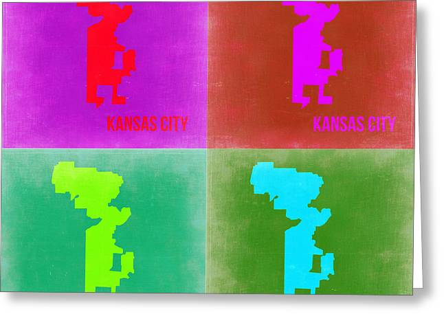Kansas City Digital Art Greeting Cards - Kansas Pop Art Map 2 Greeting Card by Naxart Studio