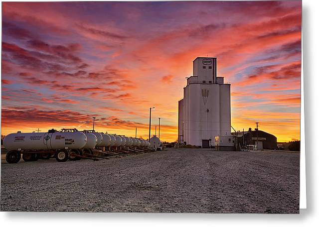 Silo Greeting Cards - Kansas Skyfire Greeting Card by Thomas Zimmerman