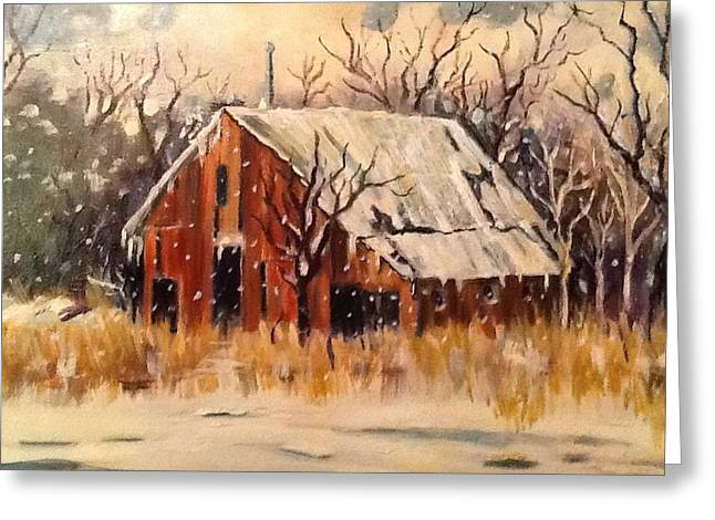 Snow Scenes Greeting Cards - Kansas Snow Greeting Card by Sheila Kinsey