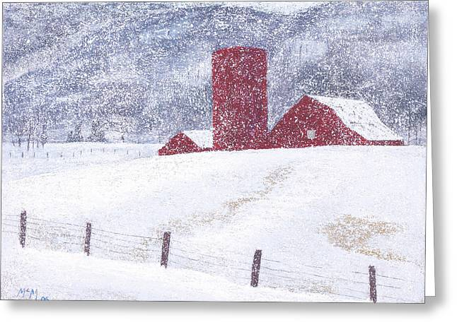 Rural Pastels Greeting Cards - Kansas Snow Storm Greeting Card by Garry McMichael