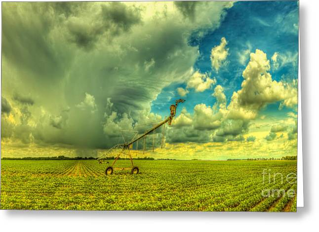 Center Field Greeting Cards - Kansas Sprinkler Greeting Card by  Caleb McGinn