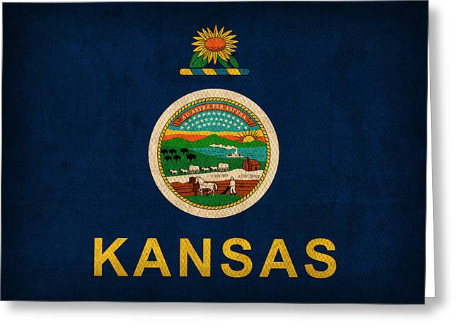 Jayhawk Greeting Cards - Kansas State Flag Art on Worn Canvas Greeting Card by Design Turnpike
