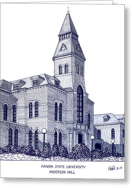 University Building Drawings Greeting Cards - Kansas State University Greeting Card by Frederic Kohli