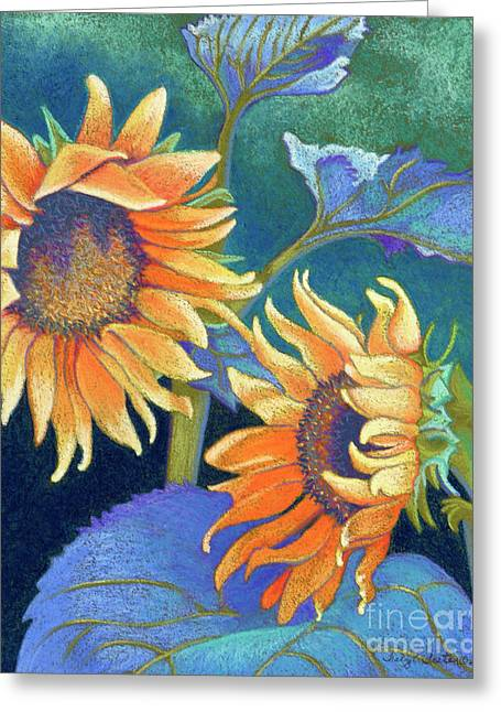 Sunflowers Pastels Greeting Cards - Kansas Suns Greeting Card by Tracy L Teeter