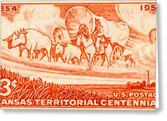 Conestoga Paintings Greeting Cards - Kansas territorial centennial Greeting Card by Lanjee Chee