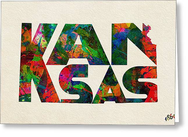 Bizarre Digital Art Greeting Cards - Kansas Typographic Watercolor Map Greeting Card by Ayse Deniz