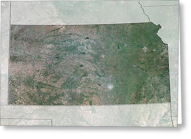 Northeastern United States Greeting Cards - Kansas, USA, satellite image Greeting Card by Science Photo Library
