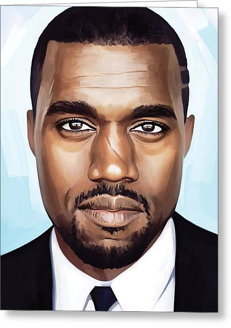 Rapper Greeting Cards - Kanye West Artwork Greeting Card by Sheraz A