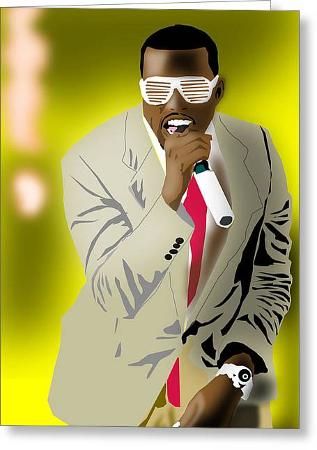 African-american Digital Greeting Cards - Kanye West Greeting Card by Michael Chatman