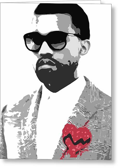 Black Greeting Cards - Kanye West Greeting Card by Mike Maher
