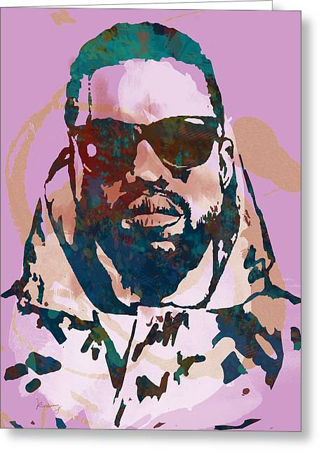 Labelled Mixed Media Greeting Cards - KANYE WEST NET WORTH - Stylised Pop Art Drawing Potrait Poster Greeting Card by Kim Wang