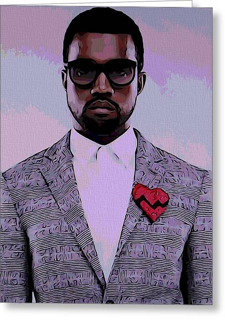 Wealth Mixed Media Greeting Cards - Kanye West Poster Greeting Card by Dan Sproul