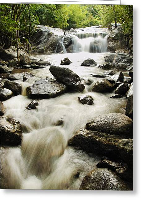 Stream Pyrography Greeting Cards - Kao Chon waterfall at Ratchaburi in Thailand Greeting Card by Thanapol Kuptanisakorn