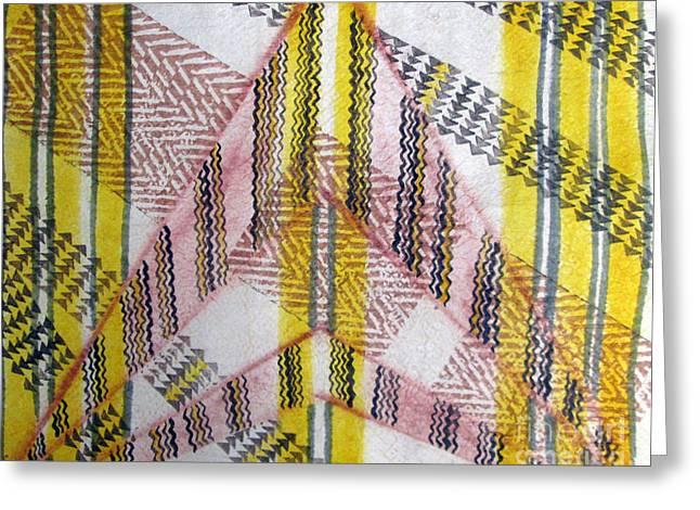 Contemporary Abstract Tapestries - Textiles Greeting Cards - Kapa de Luisa 2 Greeting Card by Dalani Tanahy