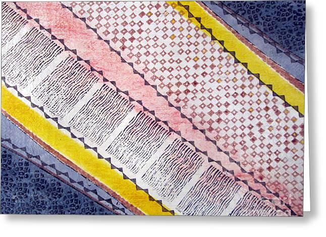 Traditional Tapestries - Textiles Greeting Cards - Kapa de Luisa Greeting Card by Dalani Tanahy