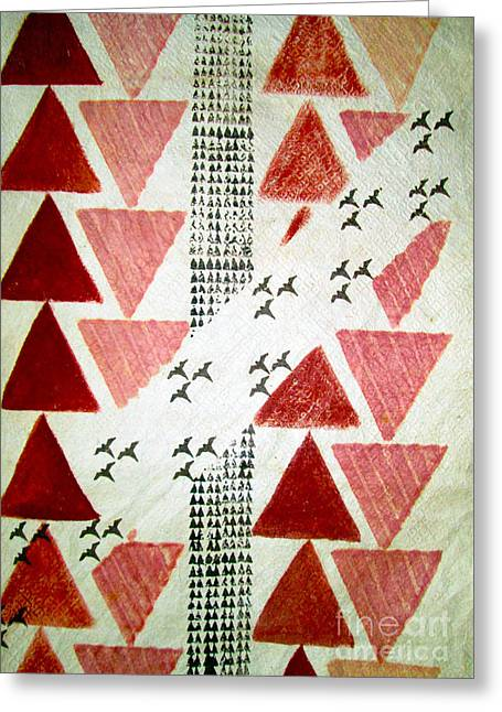 Corporate Tapestries - Textiles Greeting Cards - Kapa Flight Greeting Card by Dalani Tanahy