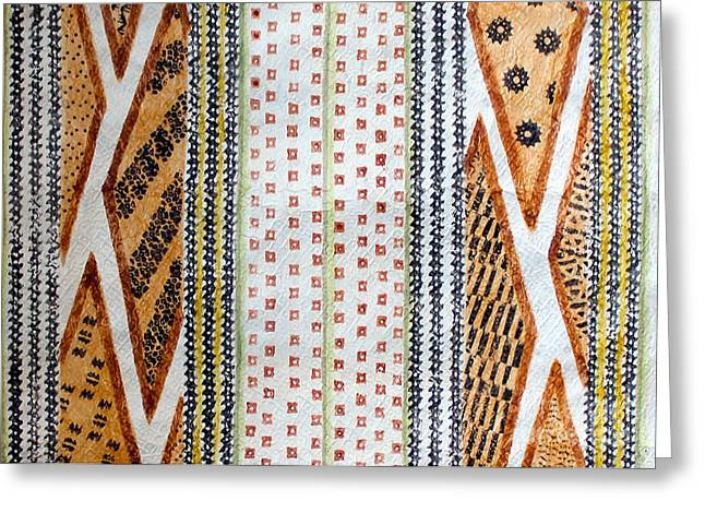 Traditional Tapestries - Textiles Greeting Cards - Kapa From the Vault Greeting Card by Dalani Tanahy