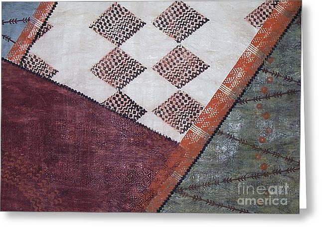 Contemporary Abstract Tapestries - Textiles Greeting Cards - Kapa Kauai Greeting Card by Dalani Tanahy