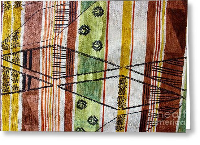 Handcrafted Tapestries - Textiles Greeting Cards - Kapa N Kolors Greeting Card by Dalani Tanahy